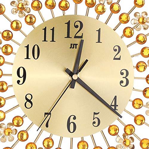 Xinjieda La Flor del Metal del Reloj de Pared de Cristal de la Sala de Estar Dormitorio Oficina decoración del Rhinestone Mirar Muro