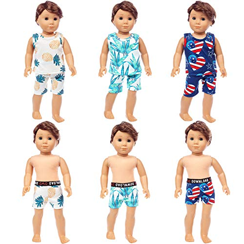 Ecore Fun 9 Pcs American 18 Inch Boy Doll Clothes Including 3 Sets Pajamas + 3 Pcs Swimming Pants, for 16-18 Inch Boy Doll Clothes Logan Doll Clothes