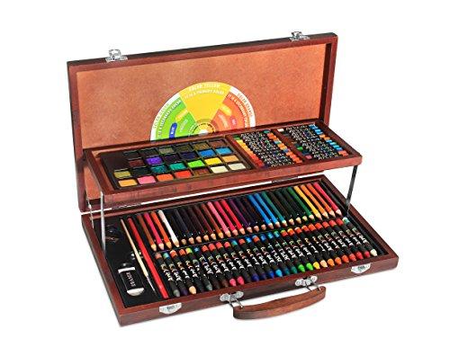 アート図面セット、111ピース、プレミアムセーフオイルパステル、クレヨン、マルチ色鉛筆、水彩画ケーキでパインウッドケース。ワンダフルギフトfor Artists、赤ちゃん、子供、児童by Amayoホーム