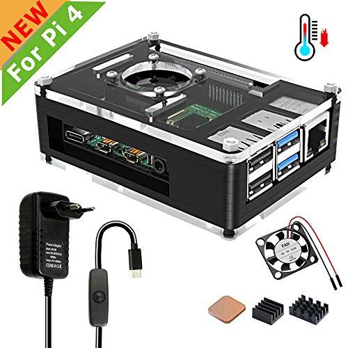 Jun_Electronic behuizing voor Raspberry Pi 4 behuizing met ventilator en koellichaam, 5V 3A USB C type C voeding