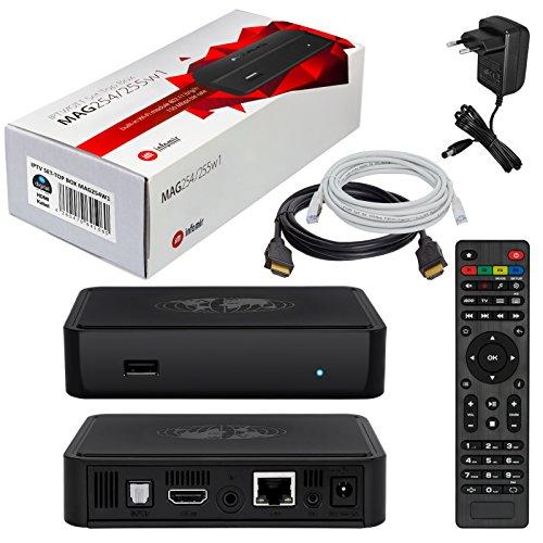 MAG 254w1 HB-DIGITAL con WLAN (WiFi) integrato 150Mbps Original IPTV SET TOP BOX Streamer Multimedia Player Internet TV IP Receiver + HB Digital HDMI cable
