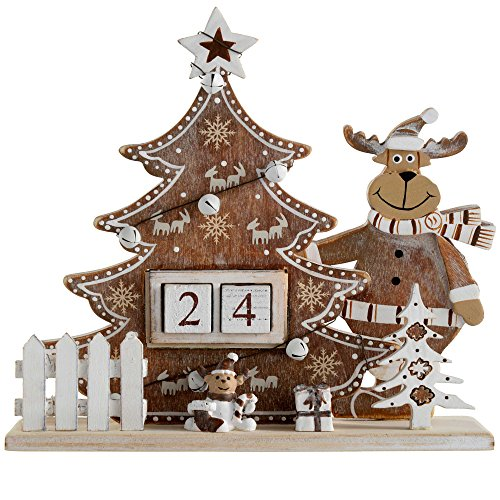 WeRChristmas Wooden Tree and Reindeer Advent Calendar Christmas Decoration, Wood, 18 cm - Multi-Colour