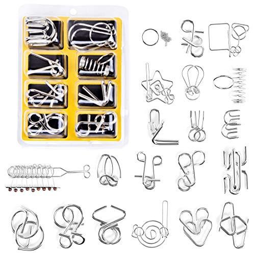 Leic Adventskalender Füller 28Pcs Metall Puzzle Brain Teaser IQ Test Lernspielzeug für Kinder und Erwachsene