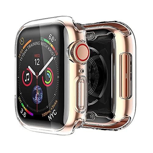 AISPORTS Compatible con Apple Watch Case de 40 mm, iWatch Series 6/5/4/SE Protector de pantalla, ultrafina, suave TPU HD, transparente, funda protectora total para Apple Watch SE/iWatch Series 6/5/4
