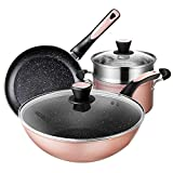 MUBAY Professional Pan Set Non-Stick Cookware Set Simply Pots and Pans Set 4 Piece Induction Cookware Set for Home Restaurant - Best Gift