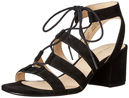 Nine West Women's Gazania Suede Heeled Sandal, Black, 6.5 M US