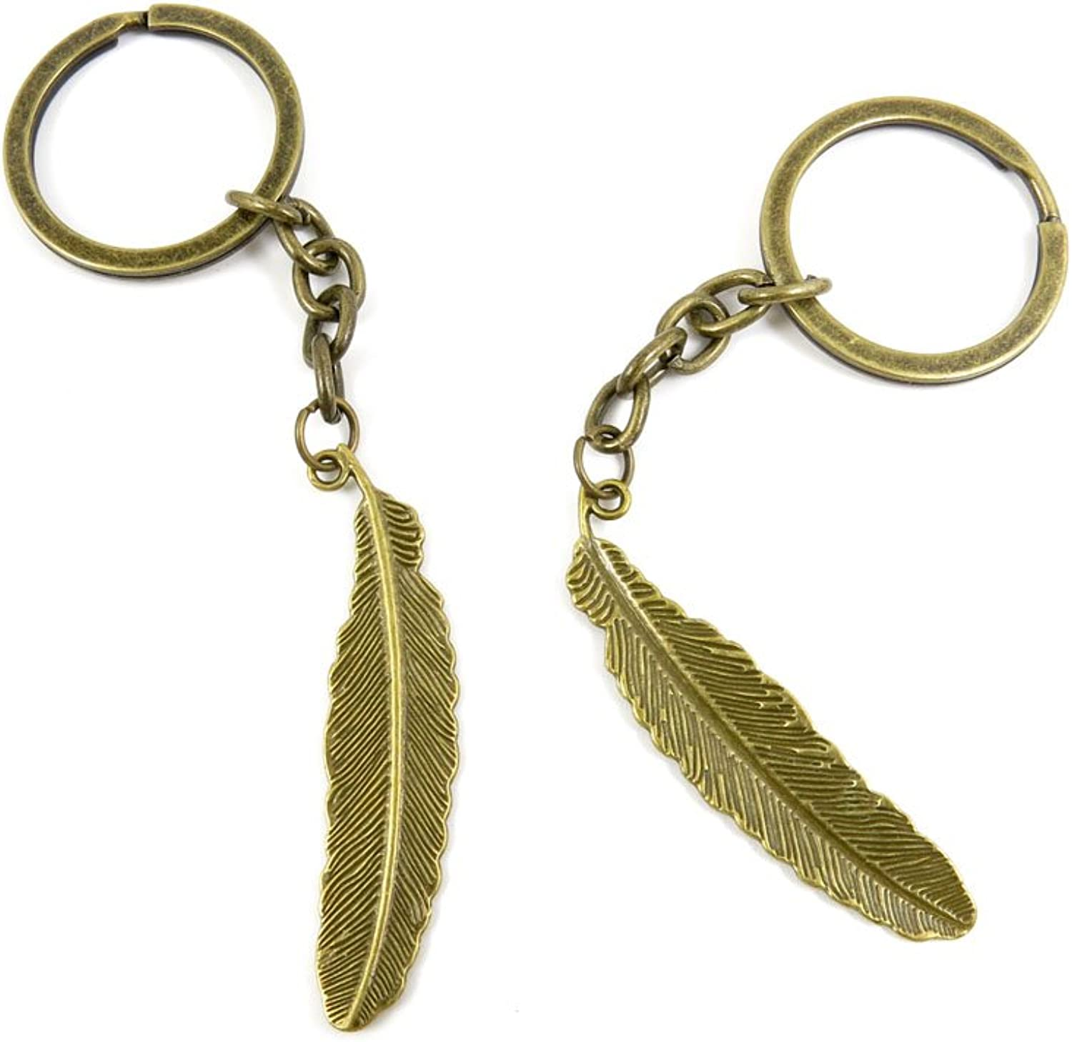 140 Pieces Fashion Jewelry Keyring Keychain Door Car Key Tag Ring Chain Supplier Supply Wholesale Bulk Lots V3GK2 Feather