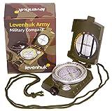 Levenhuk Brújula Táctica de Metal Army AC10 para Navegación con Mirilla de Observación, Escalas de Mapa, Nivel de Burbuja, Correa y Bolsa de Transporte