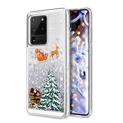 CinoCase Galaxy S20 Ultra Case 3D Liquid Case [Christmas Collection] Flowing Quicksand Moving Stars Bling Glitter Snowflake Christmas Tree Santa Pattern Hard Case for Galaxy S20 Ultra 6.9 inch Silver