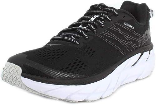 Hoka One Clifton 6 Chaussures de Course pour Femme Noir Blanc