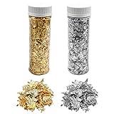 Pinsheng 2 Botellas Copos de Pan de Oro, Copos De Lámina Metálica Dorada De Imitación para Arte de Resina, Pintura, Manualidades y Decoración de Uñas (2g/Botella, Oro, Plata)