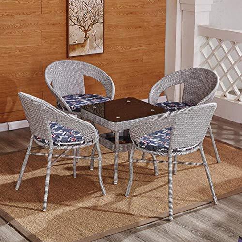 KIMSAI Outdoor Terras Meubelset 5 Stks PE Rotan Rieten Tuinbank En Stoelen Set Met Tafel Huis Meubelset, Grijs
