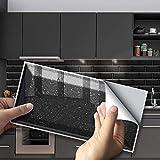 Hiser 27 Pièces Rectangle Adhésive Décorative à Carreaux pour Salle de Bains et Cuisine Stickers Carrelage, Motif Briques Imperméables 3D Adhésive Décoration (Noir,20 x 10 cm)