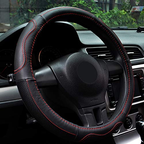 Leather Steering Wheel Cover Universal 15 Inches Microfiber,Breathable Anti Slip No Smell Comfort Durability Safety.Car Steering Wheel Cover. (Red steering wheel cover)