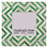 Handicrafts Home Cornice per Foto 4X4 Cornici Chevron ispirate a intarsi Fatti a Mano con intarsi in Osso