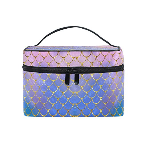 ZOEO Makeup Train Case Purple Mermaid Scales Marble Fish Light Summer Gold Korean Carrying Portable Zip Travel Cosmetic Brush Bag Organizer Large White Elephant Gift for Girls Women