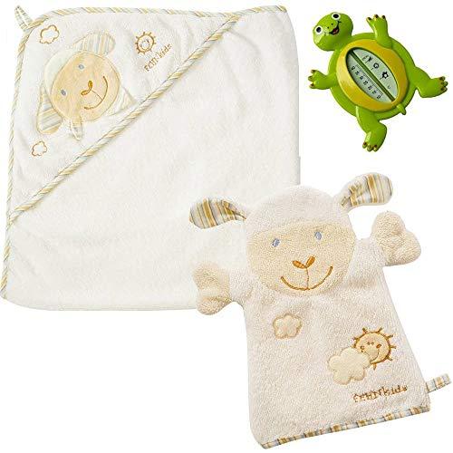 Fehn kit per bagnetto neonato, Asciugamano Da Bagno con cappuccio in Cotone + Guanto per bagnetto + Termometro per Bagnetto
