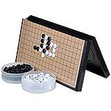 FunnyGoo M Go Juego de Mesa de ajedrez con Piedras plásticas M y Tablero de ajedrez Go irrompible, 14.57 x 14.57 Pulgadas