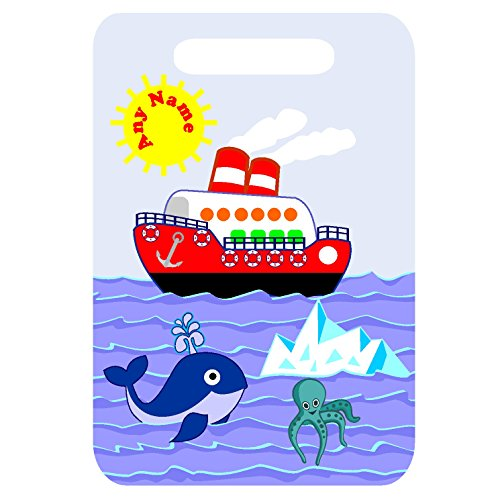 Personalised Boat Whale SEA Print MDF Luggage Suitcase TAG with Strap