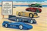 Eine Leinen-Postkarte der schnellsten Rennwagen von 1903 bis 1935 und ihre Rekorde gegen die Rennstrecke bekannt als Meile in Daytona Beach Florida Posterdruck von unnown (45,7 x 61 cm)