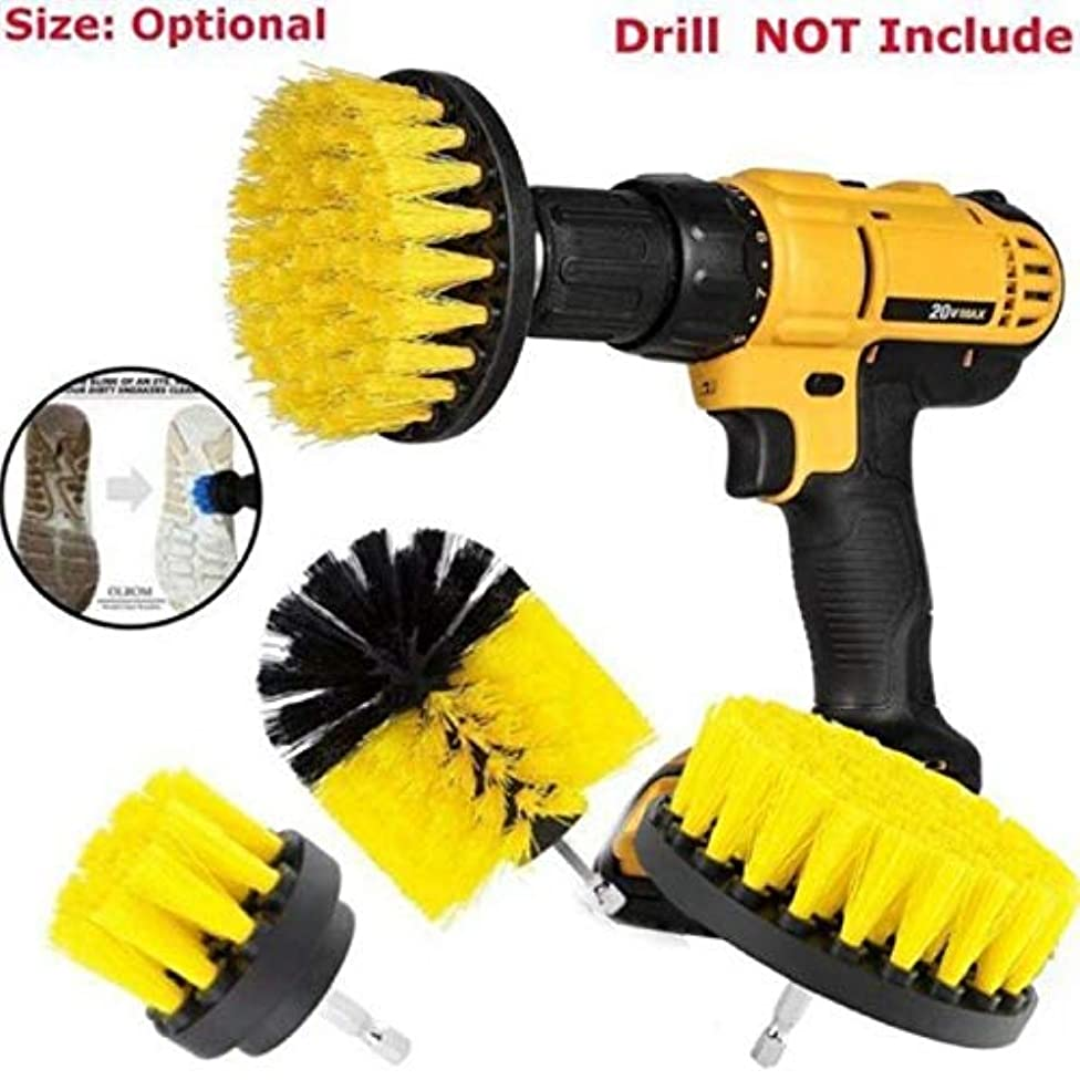Benlet 3 Piece Drill Powered Cleaning Brush, Drill Attachment Power Scrubber, All Purpose Shower Door, Bathtub, Toilet, Tile, Grout, Rim, Floor, Carpet, Bathroom, Kitchen Surfaces Cleaner (Yellow)