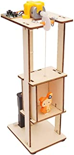Pausseo Children DIY Wood Assemble Electric Lift Toys Kids Science Laboratory Experiment Material Kits Toys Gift Educational Plaything Elevator Lift Model Dolls Kits Physical Knowledge Learning