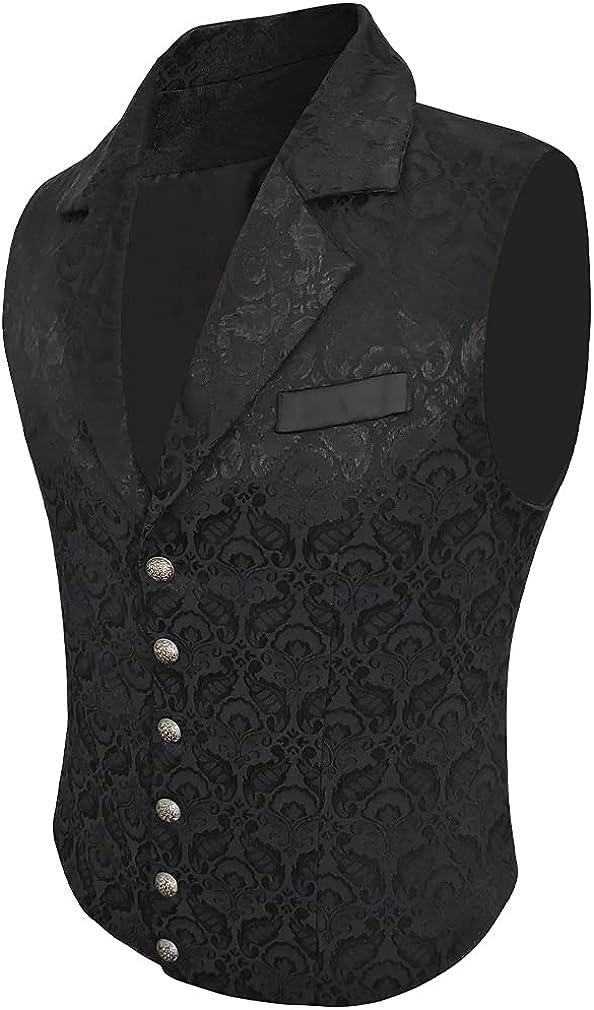 Lioop Mens Victorian Suit Vest Steampunk Gothic Waistcoat
