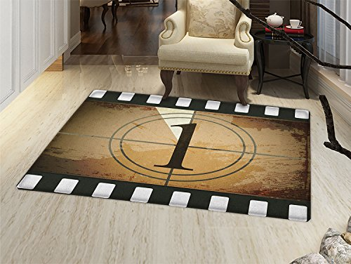 smallbeefly Movie Theater Bath Mat for tub Grunge Countdown Frame with the Number 1 in a Circle Film Strip Door Mats for inside Bathroom Mat Non Slip Backing Pale Brown Black White