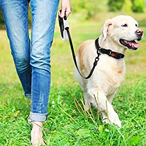 QiMH Retractable Dog Leash, 360° Tangle-Free Heavy Duty 16ft Reflective Walking Dog Leash Ribbon with Anti-Slip Handle for Medium and Large Dogs Up to 110lbs, One-Handed Brake, Pause and Lock