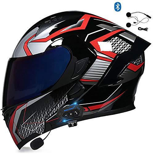 BDTOT Bluetooth Casco Moto Modular Abatible Casco de Motocicleta con Visera de Doble ECE R22-05 HD Reducción de Ruido con Altavoz Incorporado para Mujeres Hombres Adultos 55-62cm