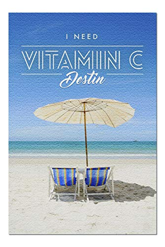 Destin, Florida - I Need Vitamin C - Beach Chairs and Umbrella Wooden Puzzles 1000 Pieces Jigsaw Puzzles Educational Game for Adults Kids