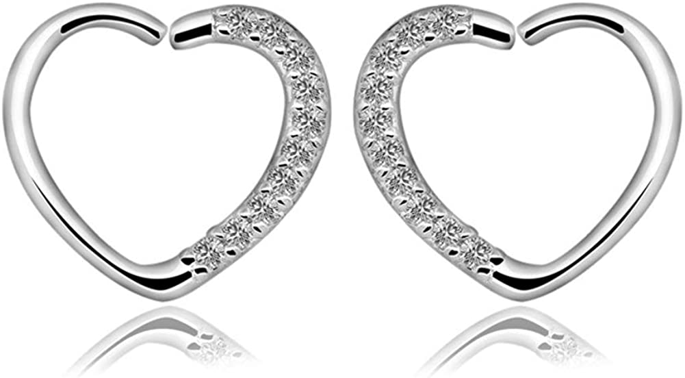 Qmcandy 2pcs Stainless Steel Heart Shaped Nose & Ear Daith Cartilage Tragus Helix Earrings Piercing Jewelry 16 Gauge