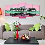 GIAOGE Pinturas Marco HD Impreso Sala de Estar Imágenes Pintura Moderna 5 Panel Elefantes Animales Arte de la Pared Cartel Modular Decoración del hogar Lienzo,30x50 30x70 30x80cm,No Frame
