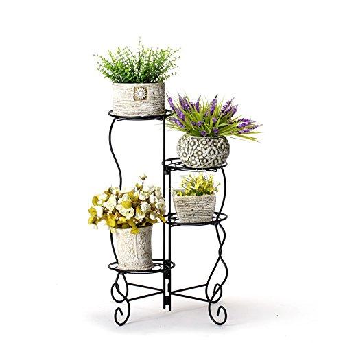 Worth Garden Luxury 4-Tier Upgraded Heavy Duty Plant Stand & Flower Pot Holder Garden | Modern Indoor & Outdoor Home Décor | Weather Resistant (Black) Very Sturdy & Well Made