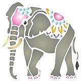 Indischer Elefant Schablone, wiederverwendbar, asiatische, Wild-Tiere–Vorlage, auf Papier...
