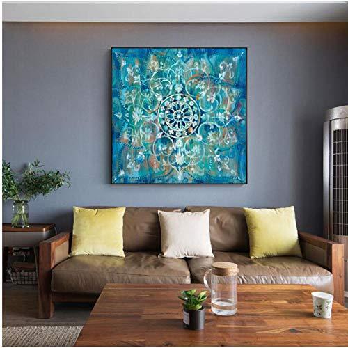 Abstract Mandala Flower Wall Poster und Drucke Großformat Helle Farbe Modern Flower Canvas Painting - 50x50cm Kein Rahmen