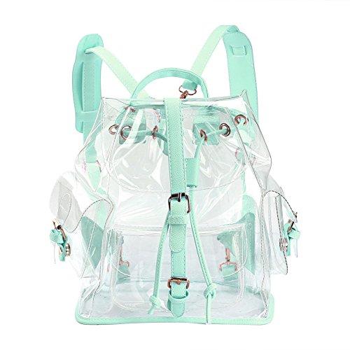 Zicac Mädchen Rucksack Knapsack Transparent Schoolbag (Grün)