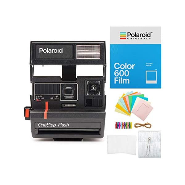Polaroid Originals 600 96 Cam Limited Edition Instant Camera (Red Stripe, Black) with Instant Film and Accessory Bundle (3 Items)