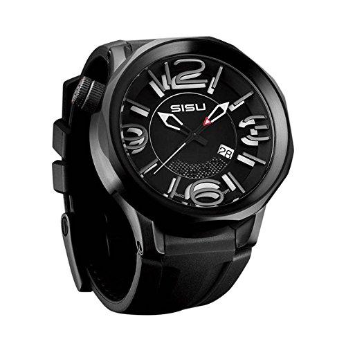 SISU Guardian Q4 Quartz Men's Watch, Black Eclipse Dial, Black Rubber Strap (Model: GQ4-50-RB)