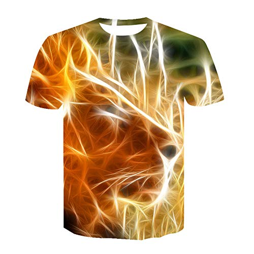 Unique 3D Digital Creative Lion Print Personalized Animal Short Sleeve Round Neck Sport Casual Wear Pullover...