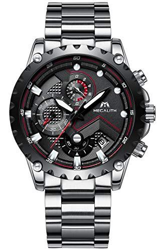 MEGALITH Herren Uhr Männer Chronograph Wasserdicht Silber Edelstahl Armbanduhr Mann Schwarz Datum Analoge Uhr
