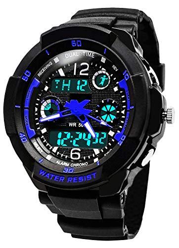 BHGWR Kinder und Jugendliche Analog-Digital Quarz Uhren mit Blau Plastik Armband Elektronischer Sportuhr mit Alarm/Timer/EL Licht mit 5 ATM wasserdicht/stoßfest für Junior Jungen
