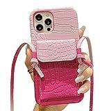 SGVAHY Funda tipo cartera compatible con iPhone 11 Pro, funda de piel de lujo con ranura para tarjeta con correa de hombro larga de silicona a prueba de golpes (rosa y rosa, iPhone 11 Pro)