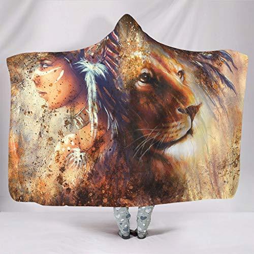 Fineiwillgo Manta con capucha para niñas y león, muy suave y cómoda, para niños, de felpa, para sofá o sillón, color blanco, 150 x 200 cm