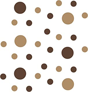 Chocolate Brown/Light Brown Vinyl Wall Stickers - 2 & 4 inch Circles (30 Decals)