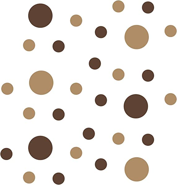 Chocolate Brown Light Brown Vinyl Wall Stickers 2 4 Inch Circles 30 Decals