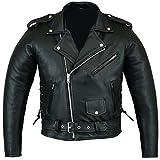 Bikers Gear Australian Stone washed in pelle bovina classico Brando giacca da moto, nero, taglia 5X L
