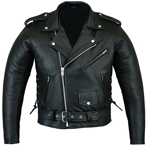 Bikers Gear Australian Stone Washed Rindsleder Leder Classic Brando Motorrad Jacke, Schwarz, Größe 4X L