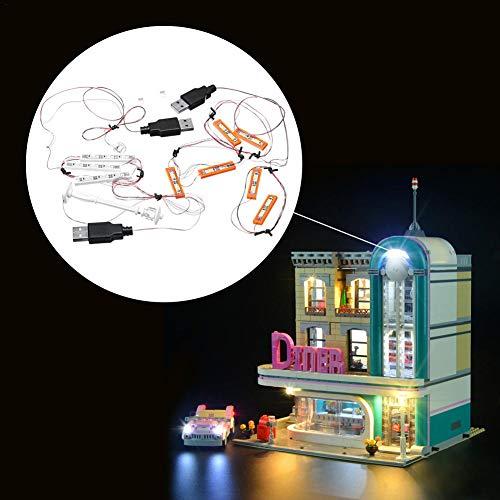 Kit de iluminación LED, bloque de construcción luminoso, LED, set de iluminación, para los juguetes de ladrillo Lego 10260 del centro de la ciudad (modelo no incluido)