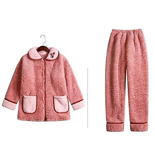 Albornoz Rosa pijamas lindo for mujeres peludas pijamas con bolsillos invierno polar de coral engrosamiento ropa de noche caliente de la franela Inicio Servicio de ropa de dormir arriba traje y pantal
